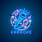 Neon label music karaoke banner. template design element. Vector illustration