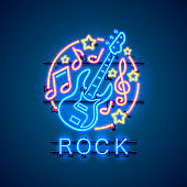 Neon label music rock banner. template design element. Vector illustration