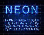 Neon city color blue font. English alphabet sign.