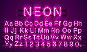Neon font city color purple, Alphabet font.