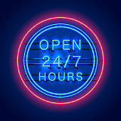 Neon signboard 24 7 open hours time. Vector illustration