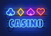 Neon lamp casino banner on wall background. Poker or blackjack card games sign. Las Vegas concept.