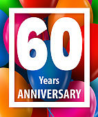 Sixty years anniversary. 60 years. Greeting card or banner concept.