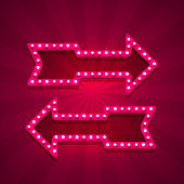 Neon arrow left and right on the red background. Vector illustration