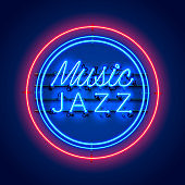 Neon music jazz signboard on the red background. Vector illustration