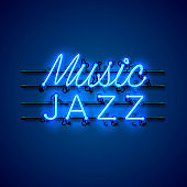Neon music jazz signboard on the blue background. Vector illustration