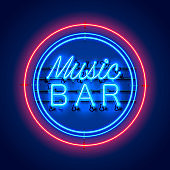 Neon music bar signboard on the red background.