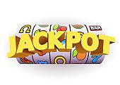 Golden slot machine wins the jackpot. Big win concept. Casino jackpot.