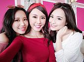 three beauty woman selfie happily