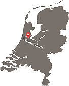 Netherlands map vector outline with capital location and name, Amsterdam, in gray background. Highly detailed accurate map of Holland