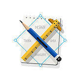 Pencil cross ruler with sketchbook. symbol of design. Personal Skills. Imagination and Mind Power concept - vector