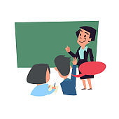 classroom concept. teacher teaching with blackboard behind student in classroom - vector