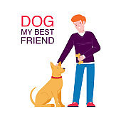 Guy with a dog. Character design. Isolated. Flat design vector illustrations.