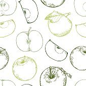 Hand drawn vector seamless pattern - Background with organic apples. Illustrations in sketch style. Perfect for packing, labels, prints, posters etc