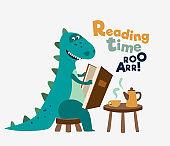 Cute dinosaur reads a book. Funny tyrannosaur drinking tea on the table