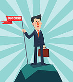 Successful businessman holding flag on top of mountain. Success vector concept