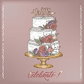 Romantic vintage Wedding greeting card template with calligraphy and cake color sketch.