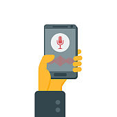 The concept of voice recognition, virtual assistant. Smartphone with microphone button and sound waves. Vector.