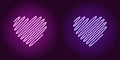 Neon wavy heart, glowing sign. Vector icon