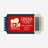 Cinema ticket icon. Flat style. Movie ticket, entertainment show , top view isolated on white. Vector image.