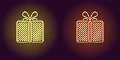 Neon icon of Yellow and Orange Gift Box