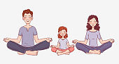 Mother, father and daughter doing yoga in lotus position