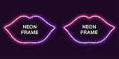 Neon frame in lips shape. Vector template