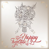 Romantic vintage Wedding greeting card template with calligraphy and bouquet sketch.