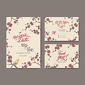 Set of three original attractive wedding cards based on blooming plum branch sketch and brush calligraphy.