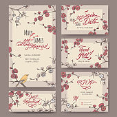 Set of five original attractive wedding cards based on blooming plum branch color sketch and brush calligraphy.