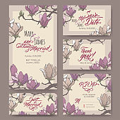 Set of five original attractive wedding cards based on magnolia flower color sketch and brush calligraphy.