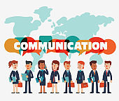 Young businessmen and business women talking and discussing. Business characters and world map background. Communication and teamwork vector concept