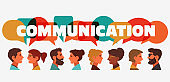 Group of young people speaking together. Male and female faces avatars and the word 'communication' with colorful dialog speech bubbles. Communication, teamwork and connection vector concept
