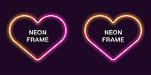 Neon frame in heart shape. Vector template