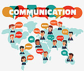 Business men and business women with speech bubbles in different languages over world map. Communication, teamwork, assistance and connection vector concept. Partnership and international business
