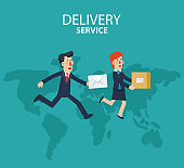 Young businessman and business woman running over the world map. Post letter, delivery service or e-mail vector concept