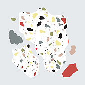 Terrazzo seamless pattern with green,orange,red,yellow color