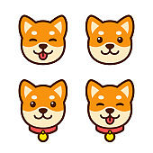 Shiba Inu puppy face set