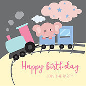 Blue pink pastel greeting card with elephant on the train,railway and cloud