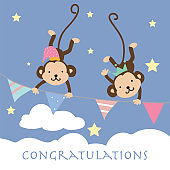Blue pink pastel greeting card with monkey climb the flag,cloud,sky and star