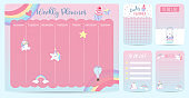 Pastel weekly calendar planner with unicorn,rainbow,glasses and cupcake