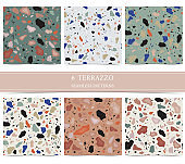 Terrazzo seamless pattern with green,orange,blue color