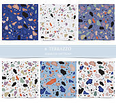 Terrazzo seamless pattern with green,orange,violet,blue color