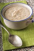 creamy porridge made with traditional irish oatmeal in a bowl