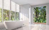 Modern white bath room 3d render