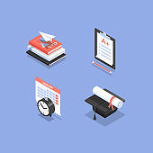 Isometric icons for college