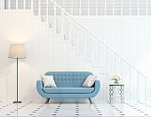 Modern classic stair hall 3d render