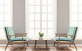 Scandinavian house living room with wood and colorful fabric seat 3d render