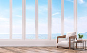 Modern living with sea view 3d rendering image.