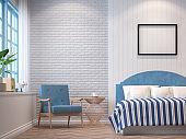 Vintage bedroom with blue furniture 3d rendering image.